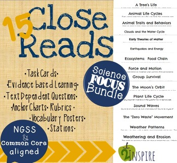 15 Science Close Reading Bundle- Evidence and Text-Dependent Activities