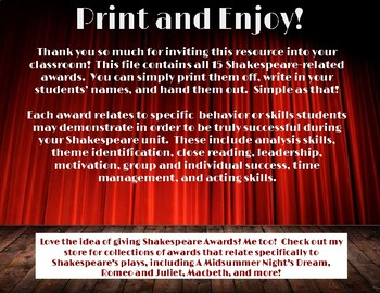 15 shakespeare themed award certificates by quick bright things tpt