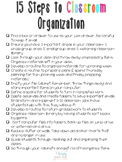 15 Steps to Classroom Organization