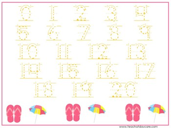 15 Summer Themed Alphabet, Numbers, and Shapes Tracing Worksheets.