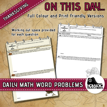 15 Thanksgiving Day Math Word Problems