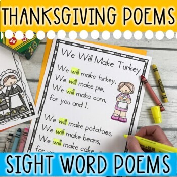15 Thanksgiving Sight Word Poems for Shared Reading (for beginning readers)