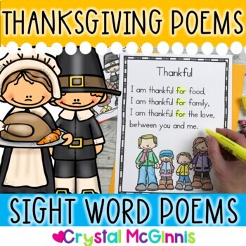 15 Thanksgiving Sight Word Poems for Shared Reading (for b