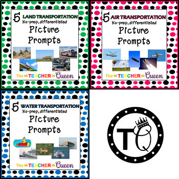 15 Transportation No-prep, Differentiated Picture Prompts for Writing MiniBundle