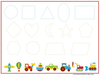 15 Transportation Themed Alphabet, Numbers, and Shapes Tracing Worksheets.