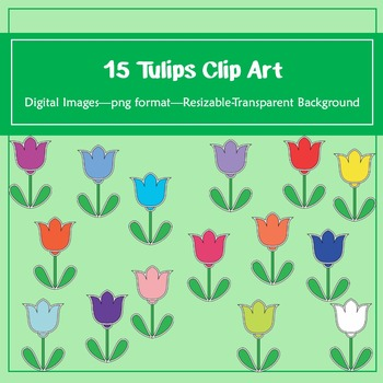 15 Tulips Clip Art: for classroom decoration, parties and