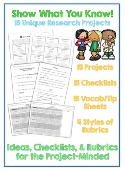 15 Unique Student Research Projects - Checklists, Rubrics, Vocabulary and Tips