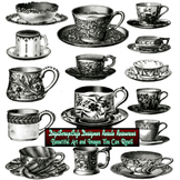 15 Vintage Antique Cups Saucers Collage Sheet Clip Art Commercial Use Graphics