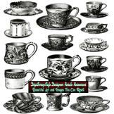 15 Vintage Antique Cups Saucers Collage Sheet Clip Art Com