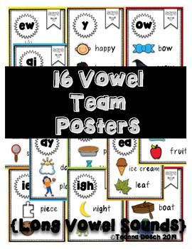 16 Vowel Team Posters- Long Vowel Sounds