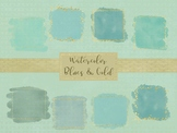 15 Watercolor Blues & Gold Frames, Separate PNG Files, High Resolution