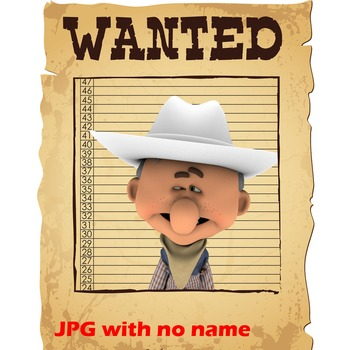 15 Western Theme Wanted Posters Editable PDF  - Cowboys and Cowgirls