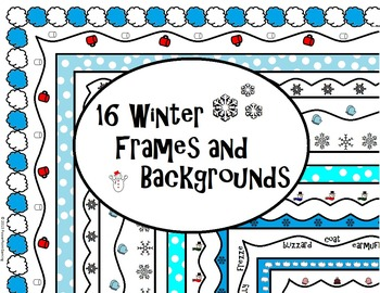 16 Winter Frames and Backgrounds