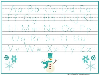 15 Winter Themed Alphabet, Numbers, and Shapes Tracing Worksheets.