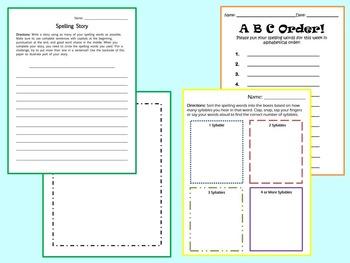 15-Word Spelling Worksheet Bundle