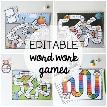 15 Word Work Board Games - EDITABLE