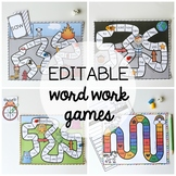15 Word Work Board Games - EDITABLE