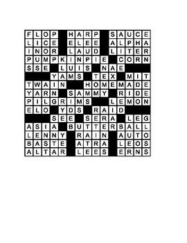 15 X 15 Thanksgiving Crossword Puzzle