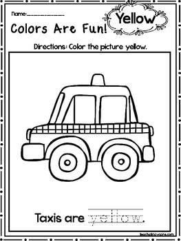 15 Yellow Colors Are Fun Printable Worksheets.  Preschool-KDG. Color Recognition