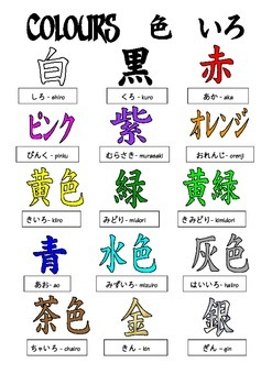 Japanese : 15 colours in script in B&W and colour, 5 different variations