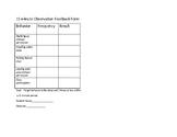 15 minute Behavior Observation Feedback Form