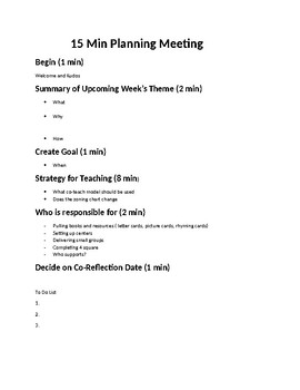 15 minute Planning Meeting