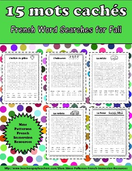 15 mots cachés pour l'automne - 15 French Word Searches for the Fall