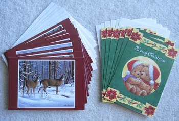 CARDS 15 NEW REGAL Christmas holiday greeting cards+ envelopes deer teddy bear