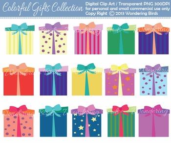 15 present / gift clip arts