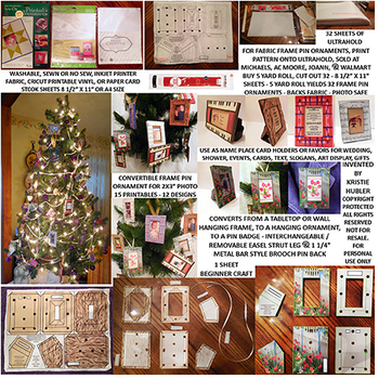 "15 printables to make convertible frame pin ornaments for 2x3"" photos download"