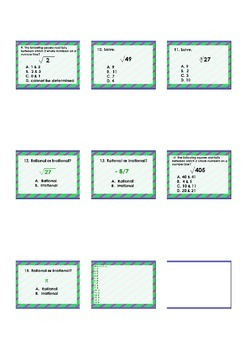 15 question assessment-Rational & Irrational Numbers, Square Roots,&more (8th)
