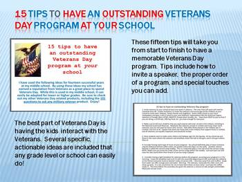 15 tips to have an outstanding Veterans Day program at your school