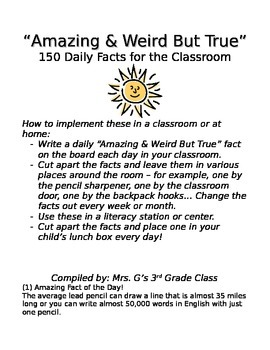 150 Amazing & Weird But True Facts - Daily Facts for Classrooms or Lunchboxes!