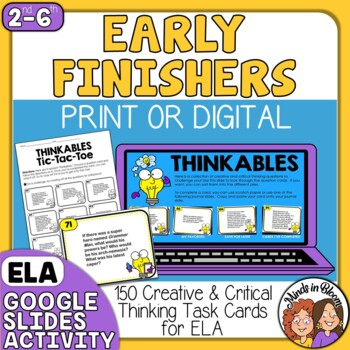 Fast Finishers Creative and Critical Thinking ELA Task Cards