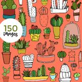 150 Hand-drawn Cacti Clip-Art (JUMBO PACK!)