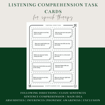 150 Listening/Oral Comprehension - Auditory Memory Task Cards Speech Therapy