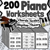 150 Piano Worksheets - Tests Quizzes Homework Class Review or Sub Work!