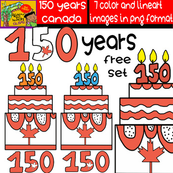 150 Years - Canadian Cliparts Set - 7 Items #FREE SET