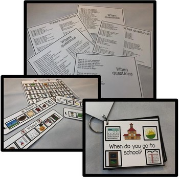 152 Autism WH visual cards. Who, what, when, where.