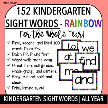 152 KINDERGARTEN / 1ST   SIGHT WORDS For The ENTIRE Year & EDITABLE!
