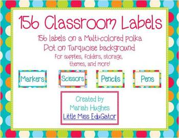 156 Classroom Labels - Multi-Colored Polka Dots on Turquoise Themed