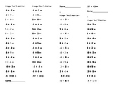 15Q Daily Integer Quiz Addition