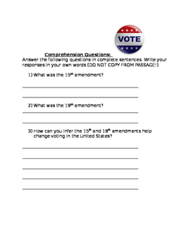 15th and 19th amendment reading passages and comprehension questions
