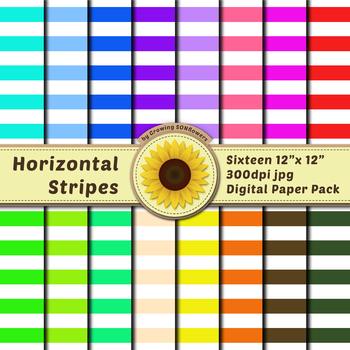 16 12x12 Digital Paper Set: Horizontal Stripes; Scrapbooking, Backgrounds, Color