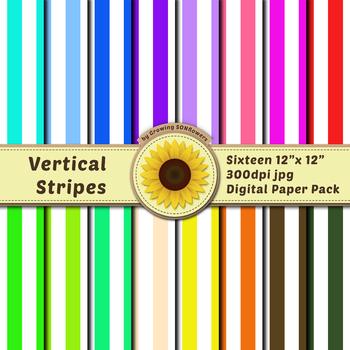 16 12x12 Digital Paper Set: Vertical Stripes; Scrapbooking, Background, Colorful