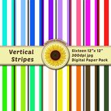 16 12x12 Digital Paper Set: Vertical Stripes; Scrapbooking