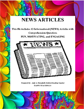 Informational NEWS Articles Comprehension Questions Teacher Resources