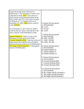 16-19 Commas Quiz II / ACT-SAT-CCR Test Practice