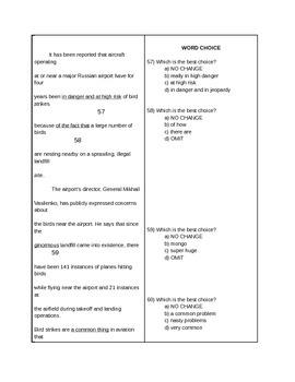 16-19 Grammar Semester 2 Test / ACT-SAT-CCR Test Practice