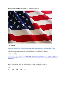 16-19 Reading Americans Search for Meaning / ACT-SAT-CCR T